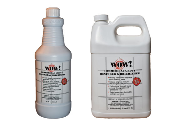 WOW! Commercial Grout Restorer & Brightener product packaging – commercial grout cleaner quart bottle and gallon container.