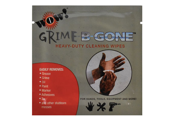 WOW! Grime-B-Gone Heavy Duty Cleaning Wipes product packaging - large single-wipe packet of grease wipes.