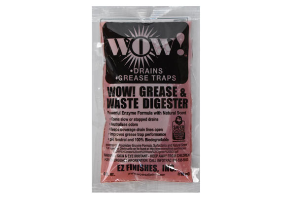 Wow! Drain & Waste Digester product packaging - (a non-toxic, bio-enzyme) drain cleaner in a 4 oz packet.