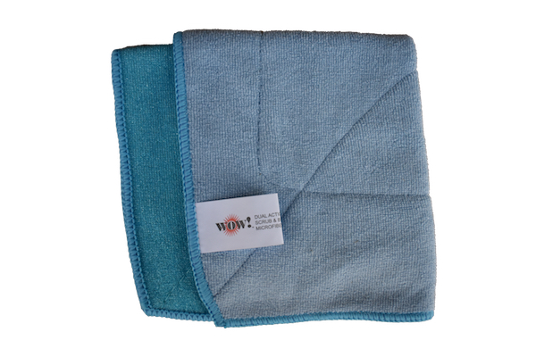 WOW! Dual Action Scrub & Buff Microfiber product image – dual-sided blue microfiber cloth folded into a square.