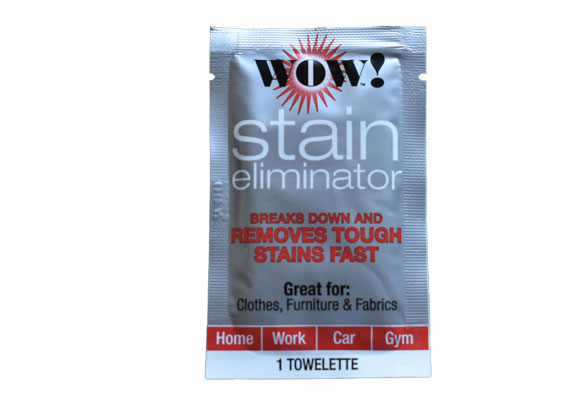 WOW! Stain Eliminator product packaging – convenient silver towelette packette.