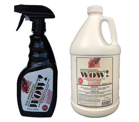 WOW! Stain & Odor Eliminator product packaging - spray bottle and gallon container.