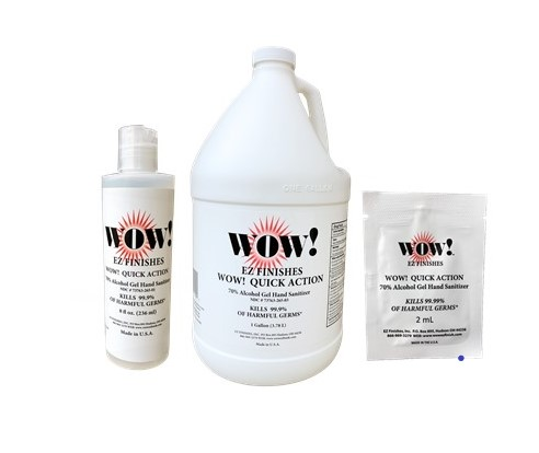 WOW! Stainless Steel Cleaner & Protectant product packaging – a stainless steel wipes canister, towelette packet, & spray bottle.